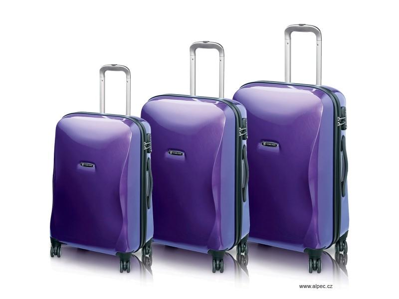 ALBA Spinner Trolley Set 78/65/53 cm (purpurová lesklá)