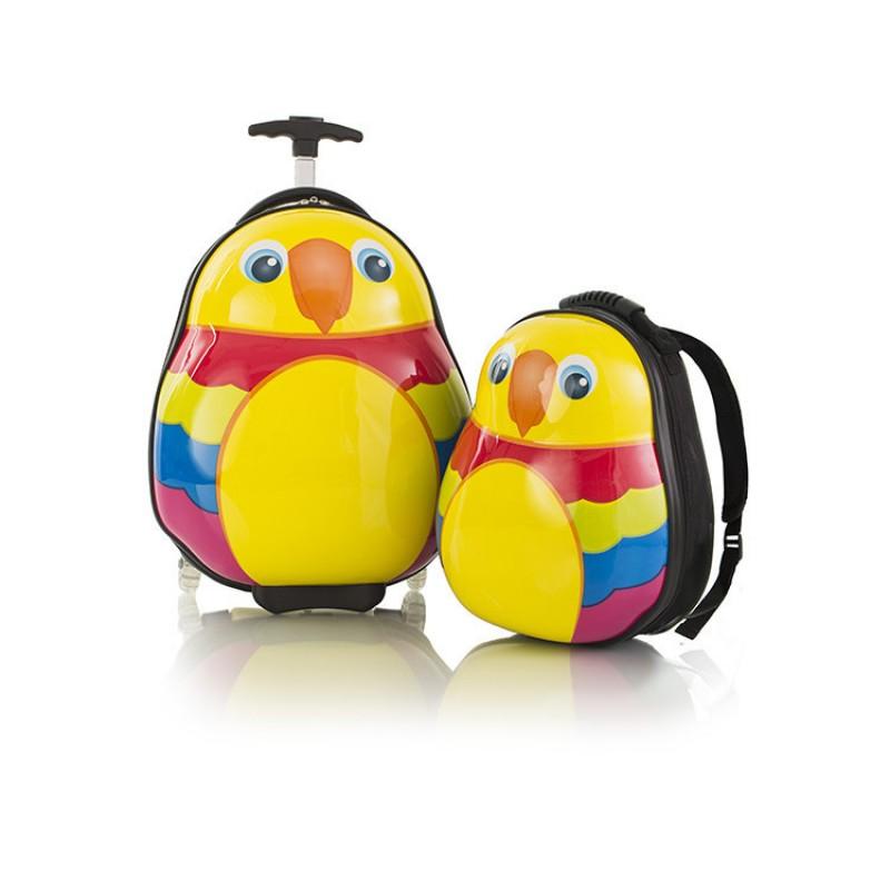 Heys TRAVEL TOTS dětská sada kufru a batohu, motiv Papoušek