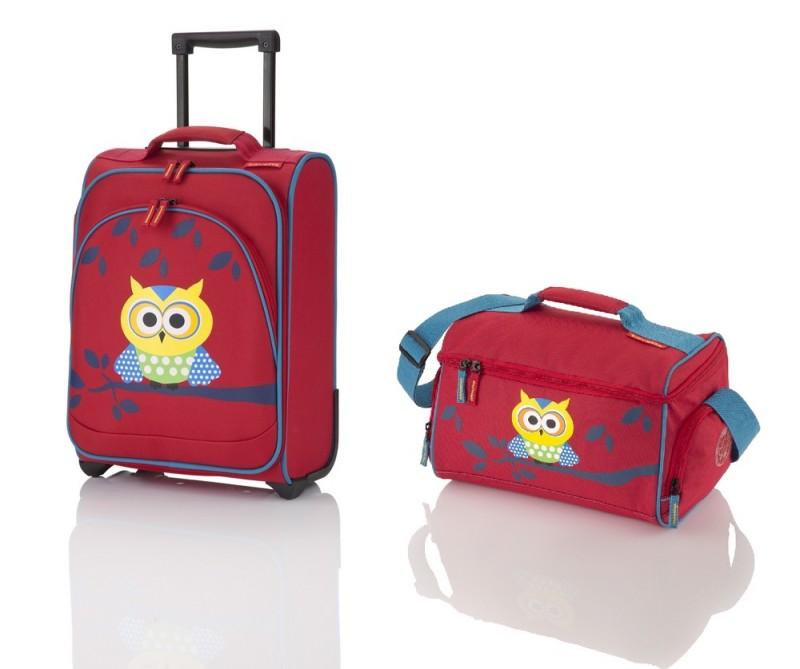 Travelite YOUNGSTER - dětská sada kufru a cestoví tašky, motiv Sova